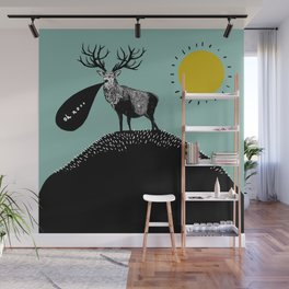 A Regretful Stag on a Stubbly Hill on a Sunny Day Wall Mural