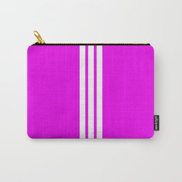 3 White Stripes on Pink Carry-All Pouch