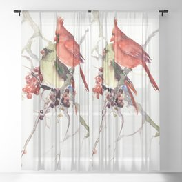 Cardinal Birds, birds art, two bird artwork cardinal bird Sheer Curtain