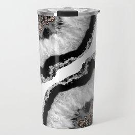 Gray Black White Agate Glitter Glamor #4 #gem #decor #art #society6 Travel Mug