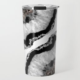 Gray Black White Agate Glitter Glamor #4 #gem #decor #art #society6 Travel Mug