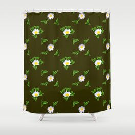White Daisy3 Shower Curtain