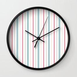 Blue Coral Yellow Gray Pin Stripes Wall Clock