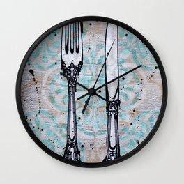 Knife and Fork set print Wall Clock