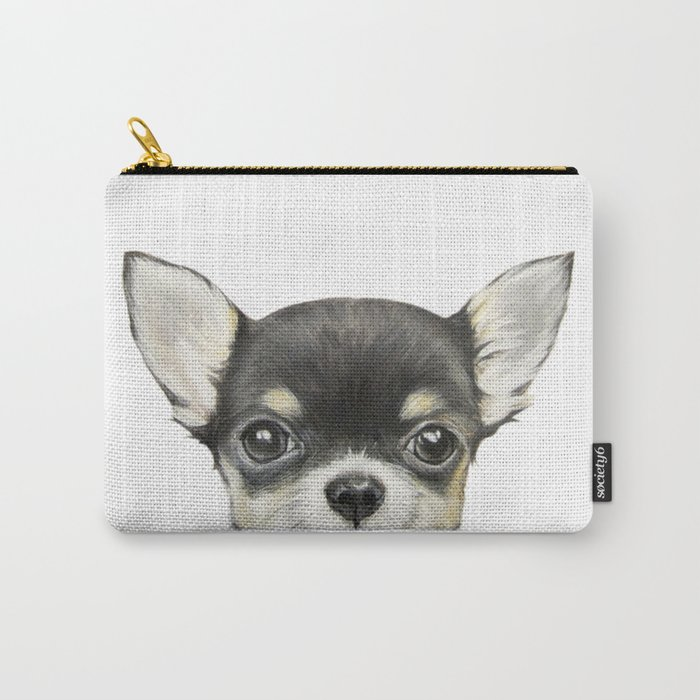 Chihuahua mix color Dog illustration original painting print Carry-All Pouch