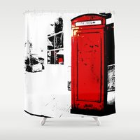 telephone Shower Curtains featuring telephone box by Lued