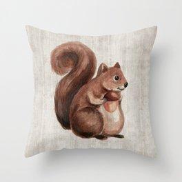 Little Squirrel, Woodland Animals, Forest Friends, Baby Animals, Children's Art Throw Pillow