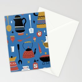 Kitschy Kitchen in Mod Blue Stationery Cards