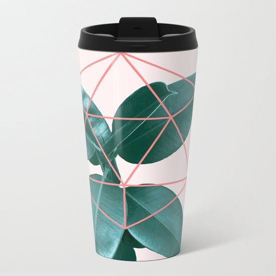 Geometric greenery II Metal Travel Mug