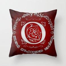 Joshua 24:15 - (Silver on Red) Monogram O Throw Pillow
