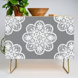 Floral Doily Pattern   Grey and White Credenza