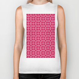 Ruby Red Square Chain Pattern Biker Tank