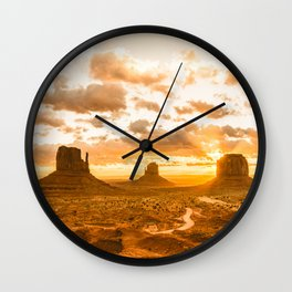 Southwest Wanderlust - Monument Valley Sunrise Nature Photography Wall Clock