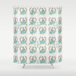 Watercolour Tropical Flowers Wreath Seahorses Summer Time Shower Curtain