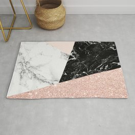 Black white marble blush pink rose gold glitter color block Rug
