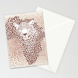 Leopard seamless pattern, vector illustration background with Africa map Stationery Cards