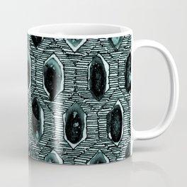 "Watercolour Blackwork: 'Lozenge"" Burnt Turquoise 2 (dark) Coffee Mug"