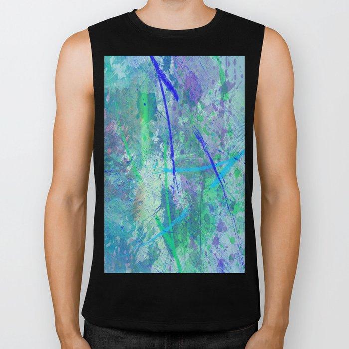 Aquatic Abstract - Blue and Green Biker Tank