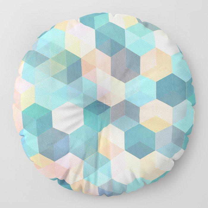 Child's Play 2 - hexagon pattern in soft blue, pink, peach & aqua Floor Pillow