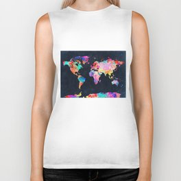 World map Biker Tank