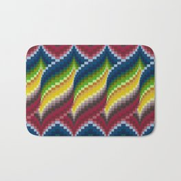 Bargello Quilt Pattern Impression 3 - red, blue, green, gold, ombre Bath Mat