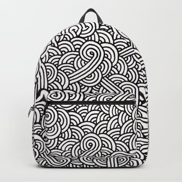 Black and white swirls doodles Backpack