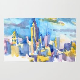 blue icing, print or original watercolor painting by Jessie Novik from rooftop view overlooking NYC Rug