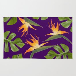 Monstera - and 3 Paradise Flowers Rug