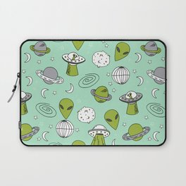 Alien outer space cute aliens french fries rad sodas pattern print mint Laptop Sleeve