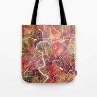 rome Tote Bags featuring Rome by MapMapMaps.Watercolors