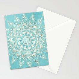 Elegant White Gold Mandala Sky Blue Design Stationery Cards