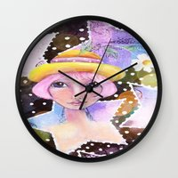 sassy Wall Clocks featuring Sassy Girl by Judy Skowron