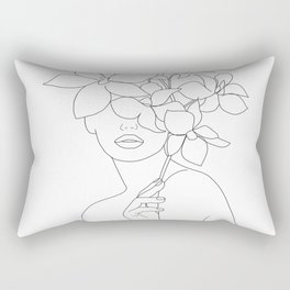 Minimal Line Art Woman with Orchids Rectangular Pillow