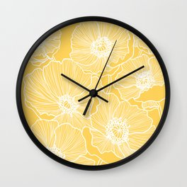 Sunshine Yellow Poppies Wall Clock