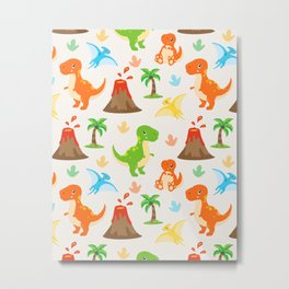 Cute Dinosaurs Nursery Illustration – Jurassic print with T-Rex and Pterodactyl Metal Print