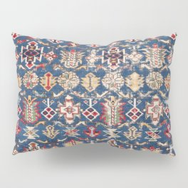 Royal Blue Western Star 19th Century Authentic Colorful Dusty Blue Yellow Vintage Patterns Pillow Sham