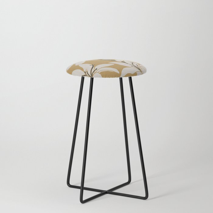 Amaryllis Floral Line Drawing, Beige and Navy on Yellow Ochre Counter Stool