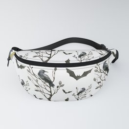 Happy Halloween pattern with hollow trees, ravens and bats Fanny Pack