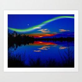 North light over a lake Art Print