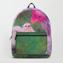 Mama Hen with Chicks Impressionist Painting Backpack