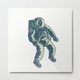 Astronaut Floating in Space Scratchboard Metal Print