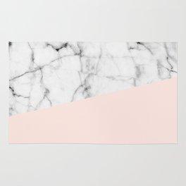 Real White marble Half Salmon Pink Rug