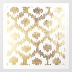 Modern white hand drawn ikat pattern faux gold  Art Print