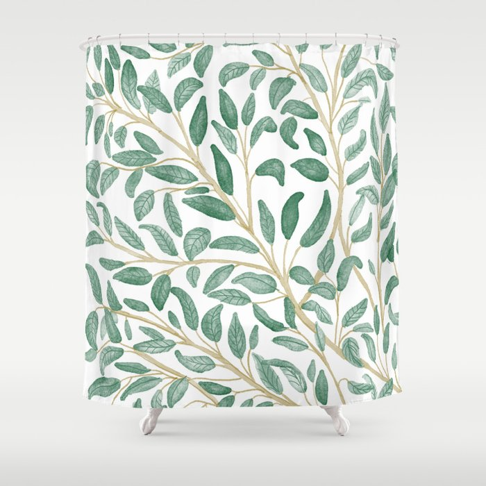 Green Leaf Pattern Shower Curtain By Aljahorvat