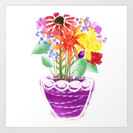 A colourful pot of wild flowers Art Print
