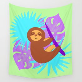 Cute sleeping baby sloth, tropical monstera leaves. Exotic rainforest illustration. Wall Tapestry