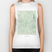 dallas Biker Tanks featuring Dallas Map Blue Vintage by City Art Posters