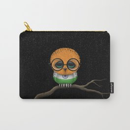 Baby Owl with Glasses and Indian Flag Carry-All Pouch