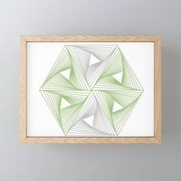 Optical illusion forming hexagon with triangles- Line composition forming different shapes Framed Mini Art Print