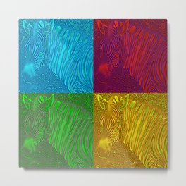 Pop Art Neon Zebras - Help fund education for the impoverished in Malawi, Africa.  @MoreThanAid. Metal Print